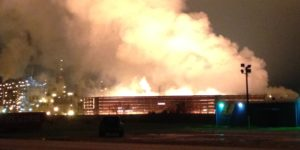Smoking ground flare in Port Arthur, TX at BASF steam cracker plant. Saudi Exxon will also use a ground flare.