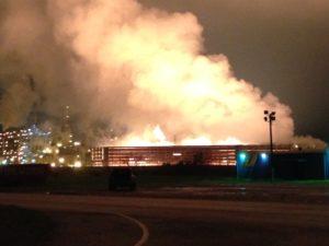 Smoking ground flare in Port Arthur, TX at BASF steam cracker plant.