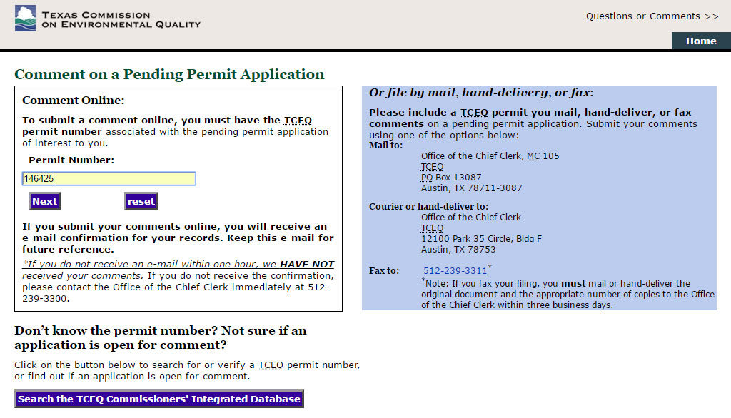 TCEQ Comment on a Pending Application page